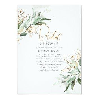 Gold Leaves Greenery Romantic Cute Bridal Shower Invitation Front View