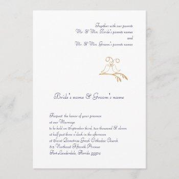 gold love birds invitation
