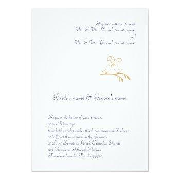gold love birds invitation
