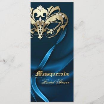 gold masquerade blue bridal shower invitation
