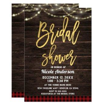 gold modern script rustic wood plaid bridal shower invitation