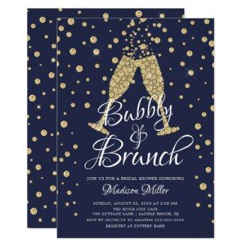 gold & navy bubbly & brunch bridal shower invitation