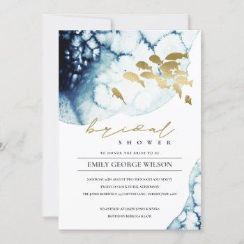 gold navy underwater sea fish bridal shower invite