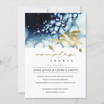gold navy underwater sea fish couple shower invite