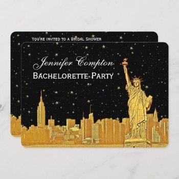 gold nyc skyline #2 black starry bgh bridal shower invitation