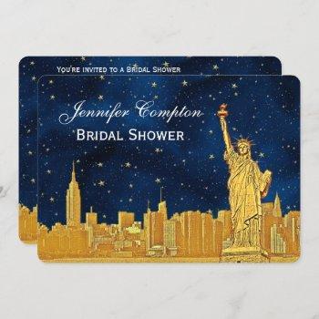 gold nyc skyline #2 blue starry bg h bridal shower invitation