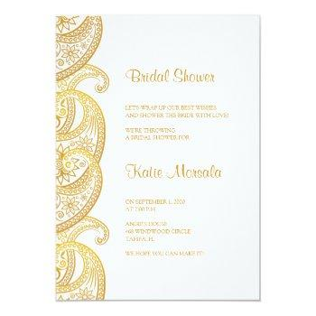 gold paisley traditional indian bridal shower invitation