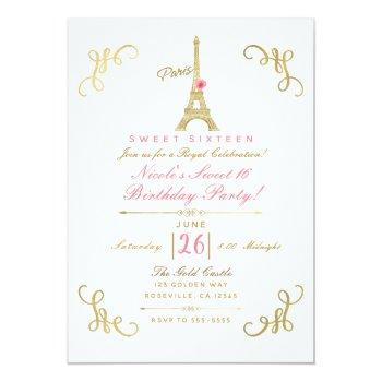 gold paris eiffel tower pink rose sweet 16 party invitation