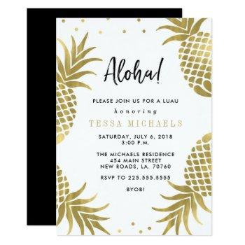 gold pineapple luau party invitations