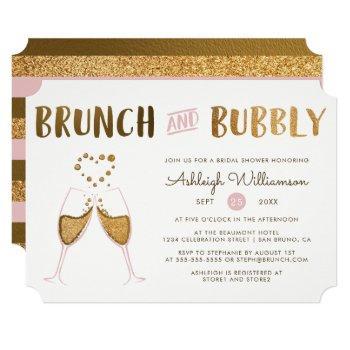 gold & pink brunch & bubbly wedding bridal shower invitation