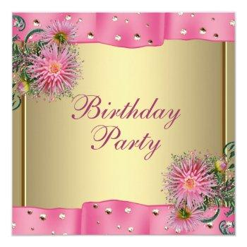 gold pink dahlia womans birthday party invitation
