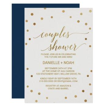 gold polka dots couples shower invitation