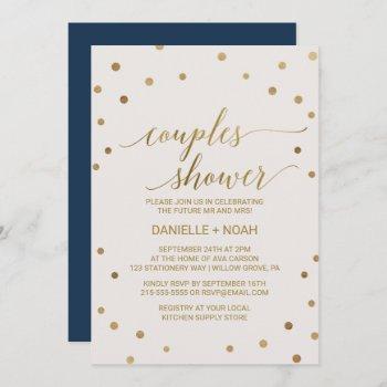 gold polka dots couples shower invitation