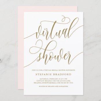 gold pretty script virtual bridal shower invitation