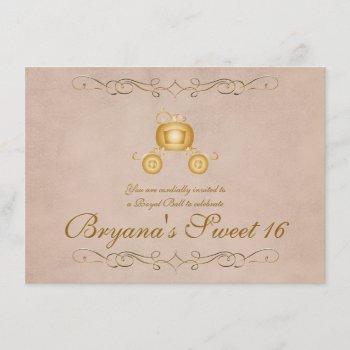 gold princess cinderella carriage party invitation
