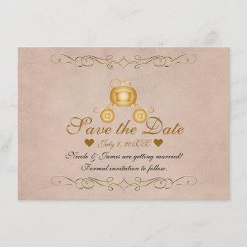 gold princess cinderella carriage save the date invitation