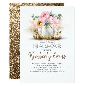 gold pumpkin blush pink floral fall bridal shower invitation