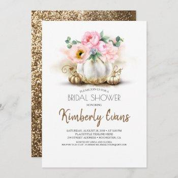 gold pumpkin blush pink floral fall bridal shower invitation