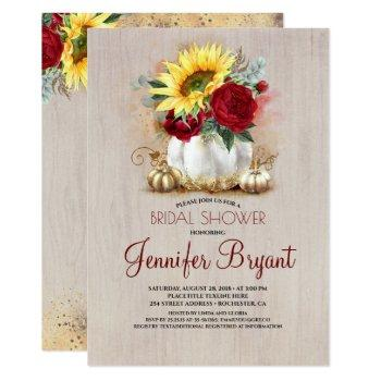 gold pumpkin floral vase rustic fall bridal shower invitation