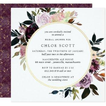gold purple mauve pink floral bridal shower invitation
