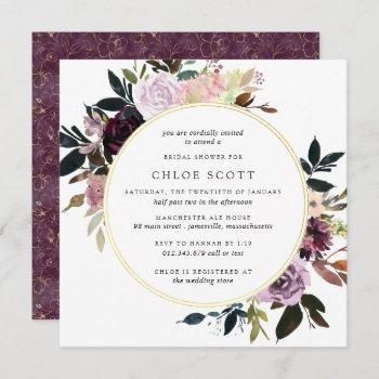 gold purple mauve pink floral bridal shower invitation