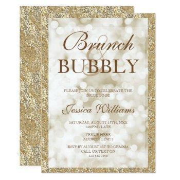gold sequins brunch & bubbly bridal shower invitation