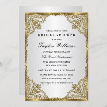 gold silver pearl vintage glamour bridal shower invitation