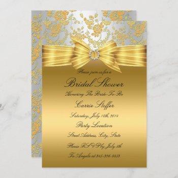 gold silver rose bridal shower invite