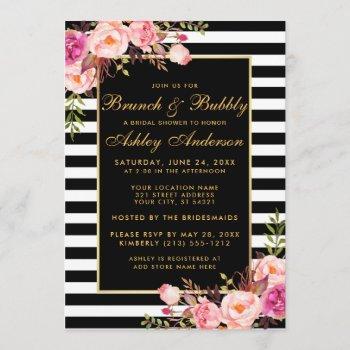 gold striped pink bridal shower brunch invite
