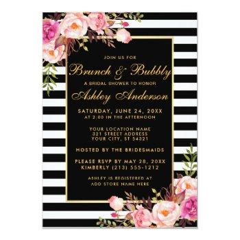 gold striped pink bridal shower brunch invite