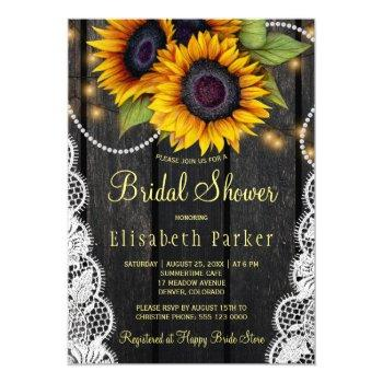 gold sunflowers lace and barn wood bridal shower invitation