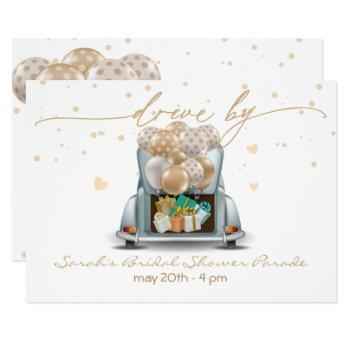 gold surprise drive through bridal shower parade 2 invitation