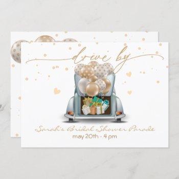 gold surprise drive through bridal shower parade 2 invitation