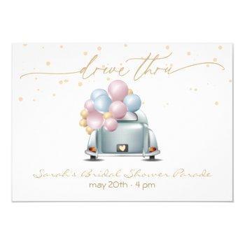 gold surprise drive through bridal shower parade invitation