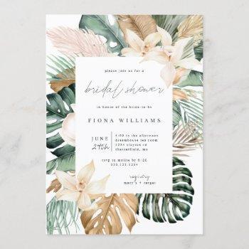 gold tropical floral bridal shower invitation