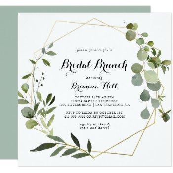 gold tropical leaves bridal brunch bridal shower invitation