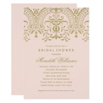 gold vintage glamour | blush pink bridal shower invitation