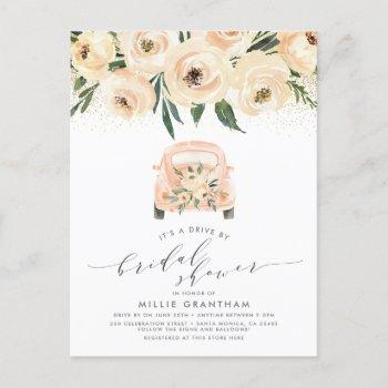 gold & watercolor floral drive by bridal shower invitation postcard