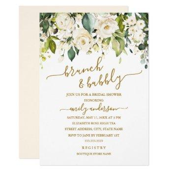 gold white rose brunch and bubbly bridal shower invitation