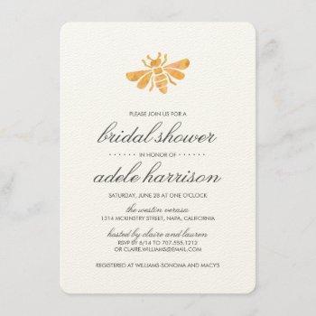 golden watercolor bee bridal shower invitation