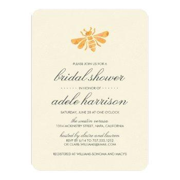 golden watercolor bee bridal shower invitation