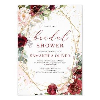 gorgeous blush burgundy floral gold bridal shower invitation