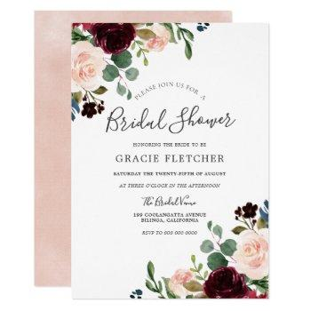 gorgeous blush & burgundy flowers bridal shower invitation