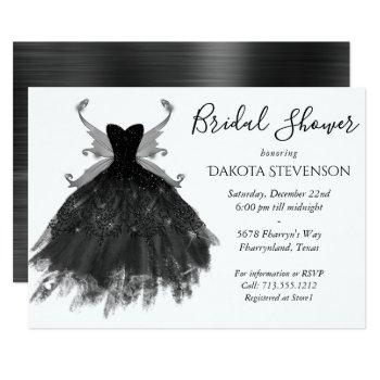 goth glamour black pixie wing gown | bridal shower invitation