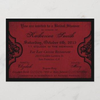 goth red damask grunge bridal shower invitation