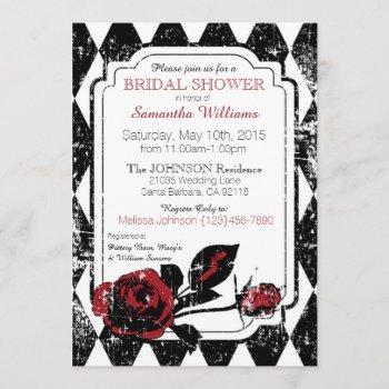 goth roses grunge diamond print bridal shower invitation
