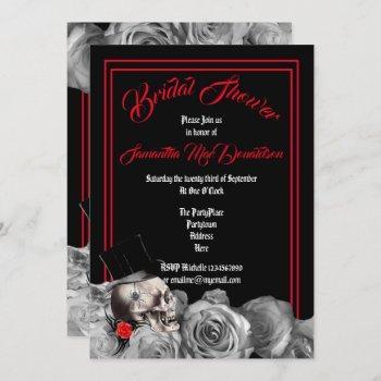 gothic, rock or biker black and red bridal shower invitation