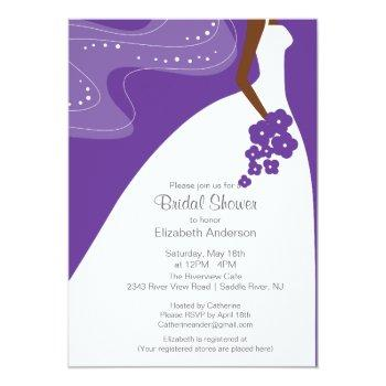 graceful african american bride bridal shower invitation