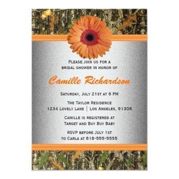 gray and orange daisy bridal shower invitation