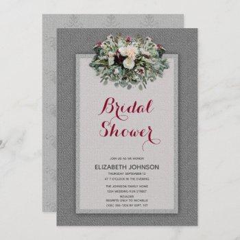 gray burgundy floral watercolor bridal shower invitation